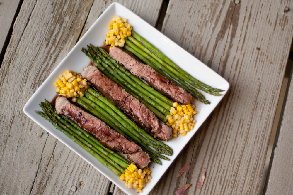 Grilled New York Strip Steak with Asparagus, Roasted Corn, and Blueberry-Jalapeño Demi-Glace with Joseph Wirt
